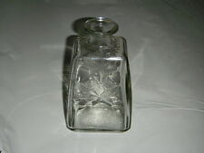 """VINTAGE SQUARE 7"""" GLASS MAPLE SYRUP JAR CLEAR MAPLE LEAVES 1968 ANCHOR HOCKING"""