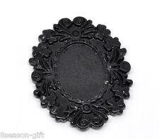 10 Black Resin Cameo Frame Settings Embellishment