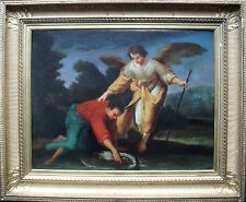 Tobias and the Angel Dutch School Old Master c1750.Oil Painting