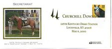 SECRETARIAT BIG RED TRIPLE CROWN SATIN CACHET & STAMP GOLD CHURCHILL DOWNS 2000