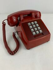 Vintage Push Button Phone Telephone RED Mid Century Classic Very Clean Display