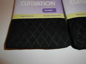 CURVATION TIGHTS 3 PAIRS BLACK DIAMOND PATTERN  TUMMY SMOOTHER PLUS SIZE 1,2,3