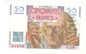 50 francs le Verrier 07/06/1951 presque neuf  (130 )