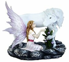 Unicornia ~ Large Lilac Winged Fairy & Unicorn Mythological Ornament 770-0701