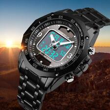 Alimentado por energía solar Hombres Analógico & Digital Deporte Relojes de Acero Inoxidable Resistente al Agua Negro