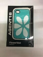 Agent18 FlowerVest Case for Apple iPhone 4/4S - White/Green