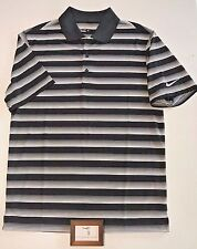Nike Mens Size Small Golf Striped Polo Casual Shirt Black White Rory New $50