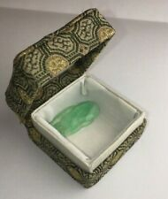 Vintage Chinese Jade Pendant/Carving In Original Fabric Box Abstract Design