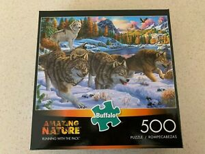 BUFFALO PUZZLE RUNNING WITH THE PACK WOLVES 500 PCS FREE SHIP IN USA