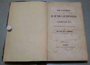 ANTIQUE MEDICAL BOOK.1858.DIE SATIREN DES D.IUNIUS IUVENALIS.LEIPZIG.PROP.
