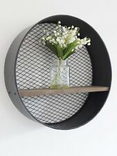 Retro Industrial Metal Wall-Mounted Circular/Round Wooden Shelf with Mesh Back