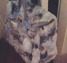 borsa Secret pon pon donna Kelly shopping Celeste Eco pelliccia Medio Grande