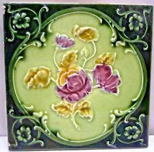 TILE ENGLAND VINTAGE PURPLE ROSE ART NOUVEAU MAJOLICA ARCHITECTURE COLLECTIB#173