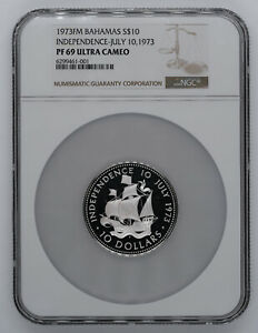 1973 FM PROOF BAHAMAS SILVER S$10 INDEPENDENCE NGC PF 69 ULTRA CAMEO (001)