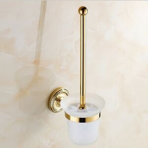 Luxury Bathroom Wall Mounted Brass Toilet Brush & Holder Set Gold Plated Clean