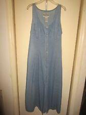 Vintage Republic Denim Sleeveless Jumper Dress 13/14 Button Up Tie Back 2 Pocket