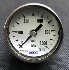 Wika 131.11 40mm Bourdon Tube Pressure Gauge - Stainless Steel - 0-1000kPa