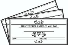 12 x Blank Gift Certificates 'This Voucher Entitles You To: (% OFF DISCOUNT ETC)