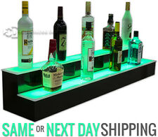 "48"" 2 Step Tier LED Lighted Shelves Illuminated Liquor Bottle Bar Display Stand"