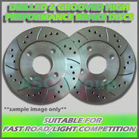 2x Rear Drilled and Grooved 240mm 4 Stud Solid Performance Brake Discs (Pair)