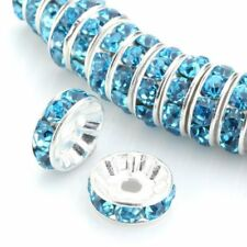 8mm 100PCS Aquamarine Spacer Beads For Swarovski Rondelle Czech Crystal AAA+++
