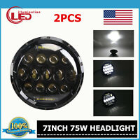 2X 7inch 75W LED Headlight H4 to H13 DRL High/Low Beam Offroad Wrangler JK TJ