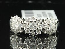 Diamond Flower Three Stone Engagement Ring White Gold Designer Bridal 1 Ct