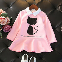 Toddler Kids Baby Girl Cute Cat Cartoon Princess Ruffle Party Dresses Clothes