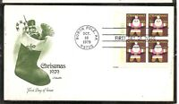 US SC #1800 Christmas 1979 FDC.Block Of 4,Plate # . ArtmasterCachet.