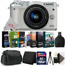 Canon EOS M6 Mirrorless Digital Camera White with 15-45mm + 32GB Accessory Kit