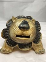 Vintage 1970's Otagiri Japan Pottery Lion Coin Bank  Modern Piggy Bank