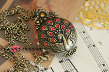 Charm Beautiful Resin Peacock Pendant Retro Long Chain Necklace Locket Opened
