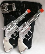 Set Cowboys Cap Gun Holster Set Two Guns Two Beautiful Holsters and Belt 10001
