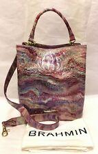 BRAHMIN Melbourne AMELIA Croc Leather Bucket Satchel Bag AURA Pink Purple NWT