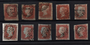GB QV 1841 1d red imperf fine used collection x 10 WS22399