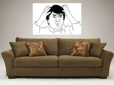 """JACKIE CHAN MEME RAGE FACE MOSAIC 35"""" BY 25"""" WALL POSTER TROLL"""