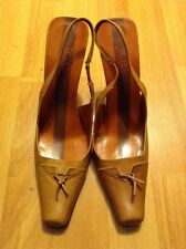"""BCBG MAX AZRIA ITALY ALL LEATHER BROWN 3.5"""" WOMEN'S SLINGBACKS HEELS SIZE 7.5"""