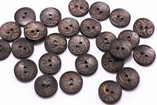 Dark Brown Tribal Pattern Wooden Button Ethnic BOHO Bohemian DIY 17mm 20pcs