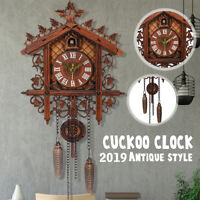 Vintage Style Wood Cuckoo Clock Forest House Swing Wall Handcraft Room Decor