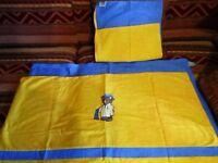 tolle neue Paidi Kinder Bettwäsche, blau/gelb mit Schlafbär drauf, 40x60+100x135