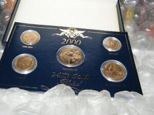 2000 Philadelphia Mint 24kt gold plated 5 coin set w/case Sacagawea Dollar