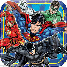 JUSTICE LEAGUE LARGE PAPER PLATES (8) ~ Birthday Party Supplies Dinner Batman