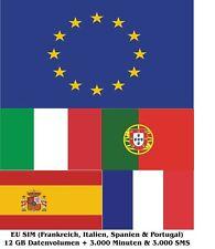 EU SIM (Spanien, Frankreich, Italien & Portugal) 12 GB & Telefonie Trio SIM