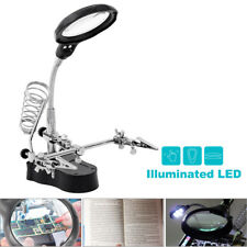 LED Desk Lamp Magnifying Magnifier Glass With Light Stand Clamp For Repair Read