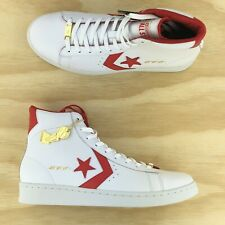 """Converse Pro Leather Think 16 """"The Scoop"""" Hi Top White Red Shoes 161328C Size 9"""