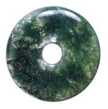 Ágata de Moho Donut Colgante Gema 30mm Piedra Cristal Pi Curativa