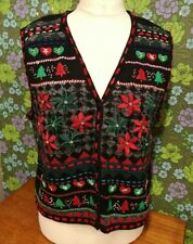 Vintage Embroidered Knitted Ugly Christmas Pullover Tank Top (jumper) Sz XL