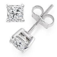 2 ct Princess Cut Solitaire Stud Earrings Diamond 14k White Gold Fn. Screw Back