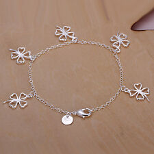 New Women 925 Sterling Silver Plated 5 Lucky Clover Charm Chain Bracelet Bangle