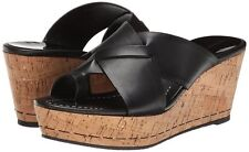 Donald J Pliner Sandals Size 6 Black baby calf Leather Wedge Slide Shoe Fuji new
